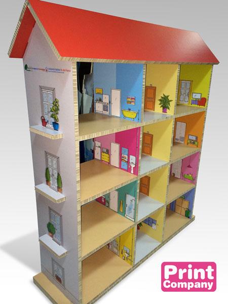Maison de poupée en carton impression numérique grand format